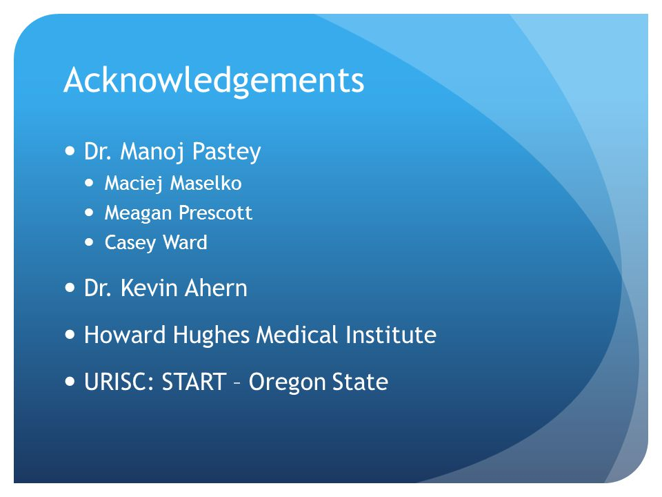 Acknowledgements Dr. Manoj Pastey Maciej Maselko Meagan Prescott Casey Ward Dr. Kevin Ahern Howard Hughes Medical Institute URISC: START – Oregon Stat