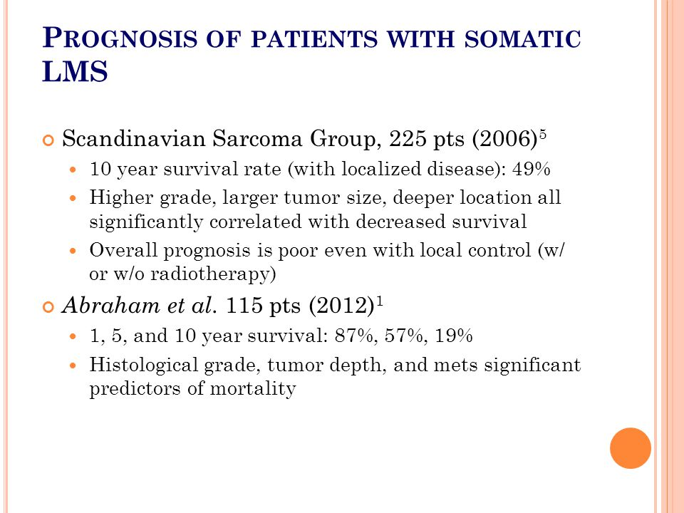 P ROGNOSIS OF PATIENTS WITH SOMATIC LMS Scandinavian Sarcoma Group, 225 pts (2006) 5 10 year survival rate (with localized disease): 49% Higher grade,