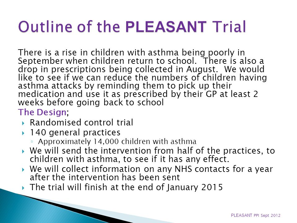 There is a rise in children with asthma being poorly in September when children return to school. There is also a drop in prescriptions being collecte
