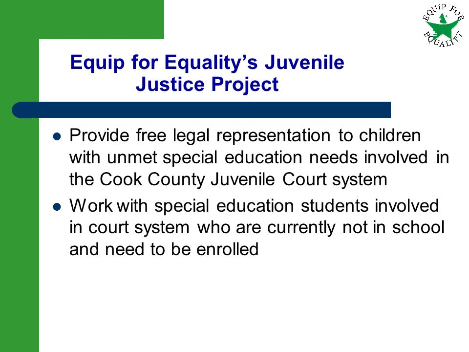 9 Equip for Equalitys Juvenile Justice Project Provide free legal representation to children with unmet special education needs involved in the Cook C