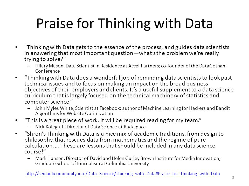 Praise for Thinking with Data