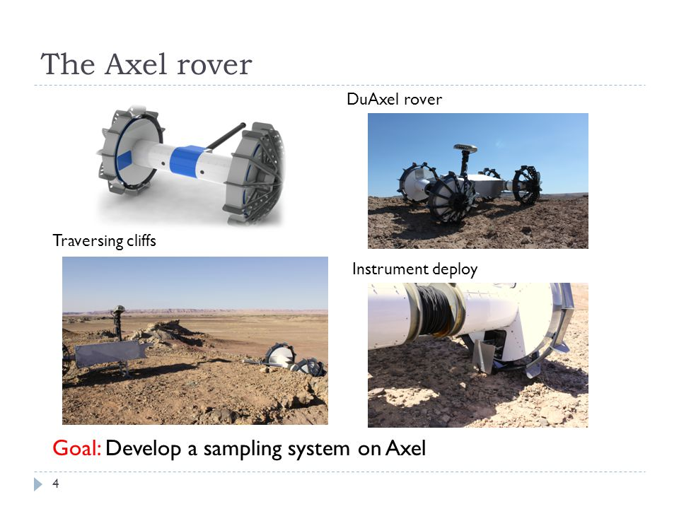 The Axel rover DuAxel rover Instrument deploy Traversing cliffs Goal: Develop a sampling system on Axel 4