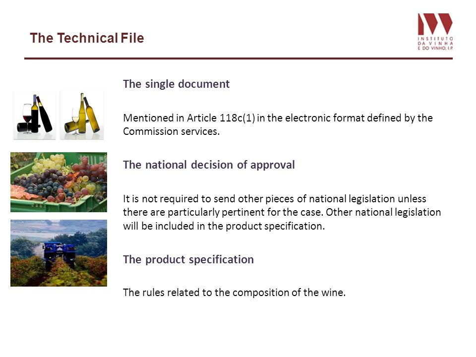 The Technical File The single document Mentioned in Article 118c(1) in the electronic format defined by the Commission services. The national decision