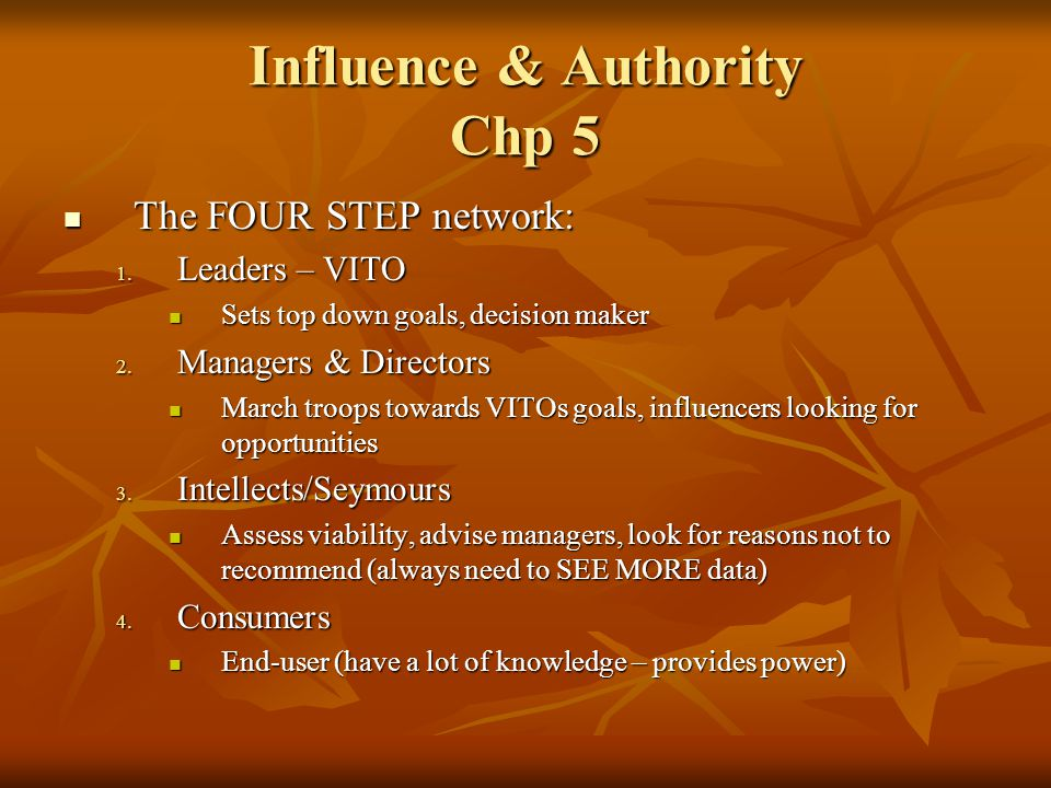 Influence & Authority Chp 5 The FOUR STEP network: The FOUR STEP network: 1. Leaders – VITO Sets top down goals, decision maker Sets top down goals, d