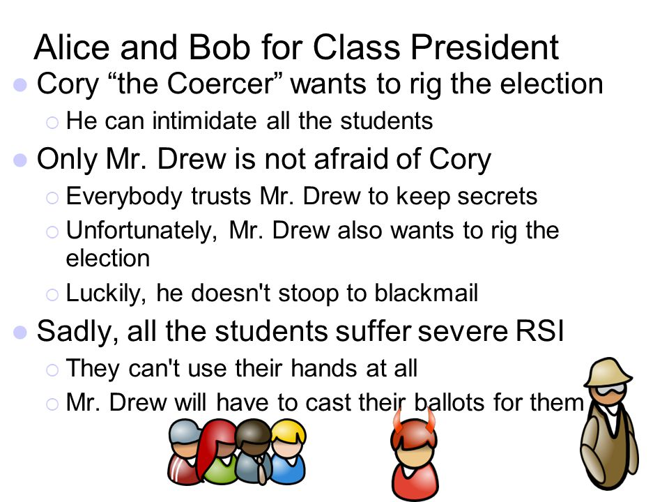 Alice and Bob for Class President Cory the Coercer wants to rig the election He can intimidate all the students Only Mr. Drew is not afraid of Cory Ev