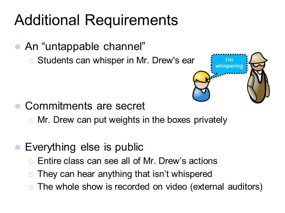 An untappable channel Students can whisper in Mr. Drew's ear Commitments are secret Mr. Drew can put weights in the boxes privately Everything else is
