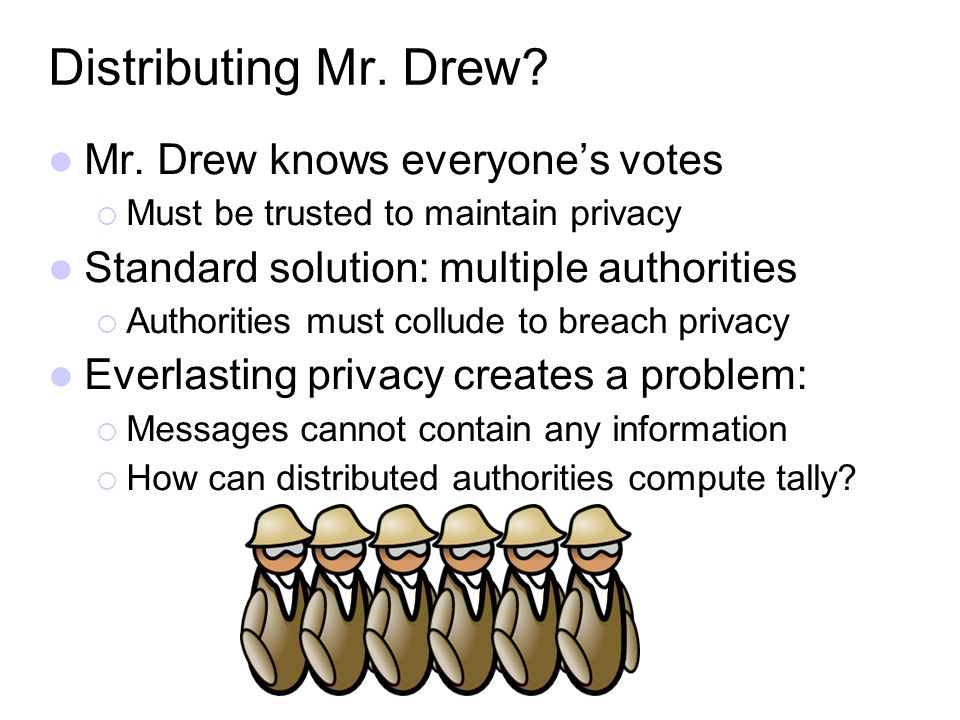 Distributing Mr. Drew? Mr. Drew knows everyones votes Must be trusted to maintain privacy Standard solution: multiple authorities Authorities must col