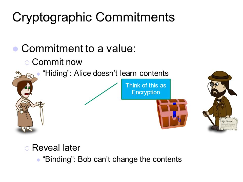 Commitment to a value: Commit now Hiding: Alice doesnt learn contents Reveal later Binding: Bob cant change the contents Cryptographic Commitments Thi