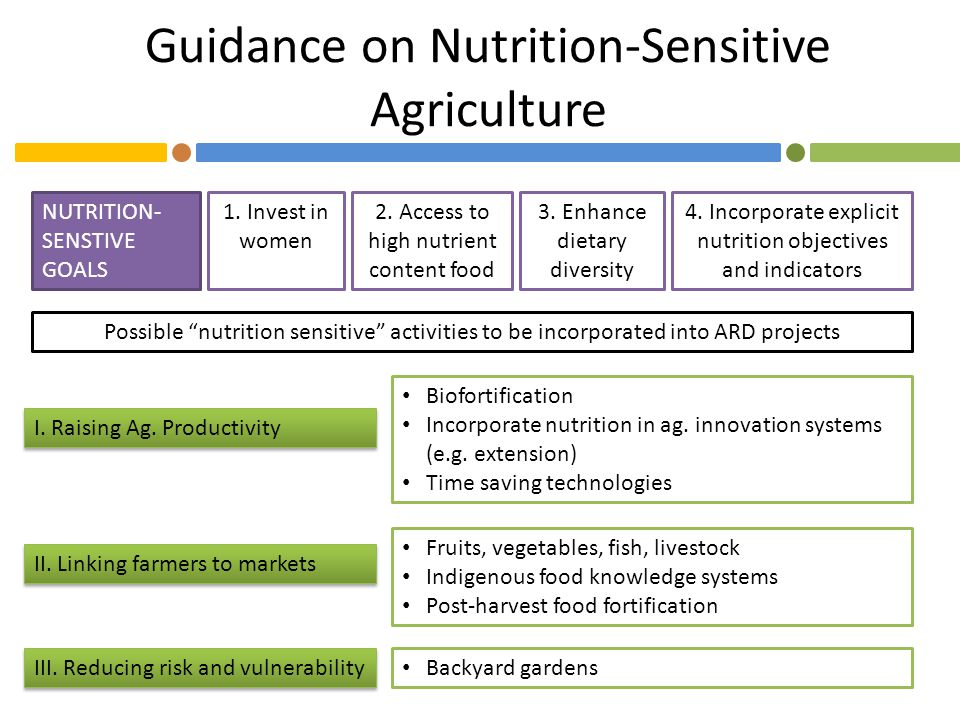 Guidance on Nutrition-Sensitive Agriculture 1. Invest in women 2. Access to high nutrient content food 3. Enhance dietary diversity 4. Incorporate exp