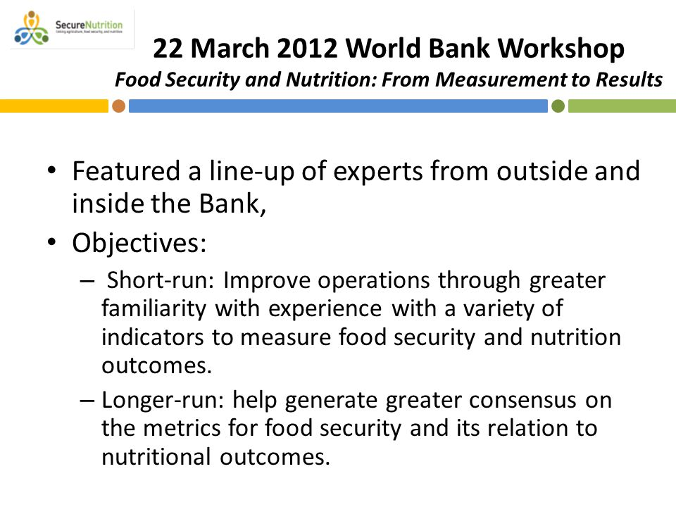 22 March 2012 World Bank Workshop Food Security and Nutrition: From Measurement to Results Featured a line-up of experts from outside and inside the B