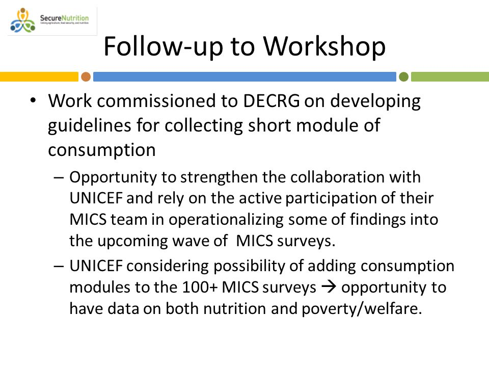 Follow-up to Workshop Work commissioned to DECRG on developing guidelines for collecting short module of consumption – Opportunity to strengthen the c