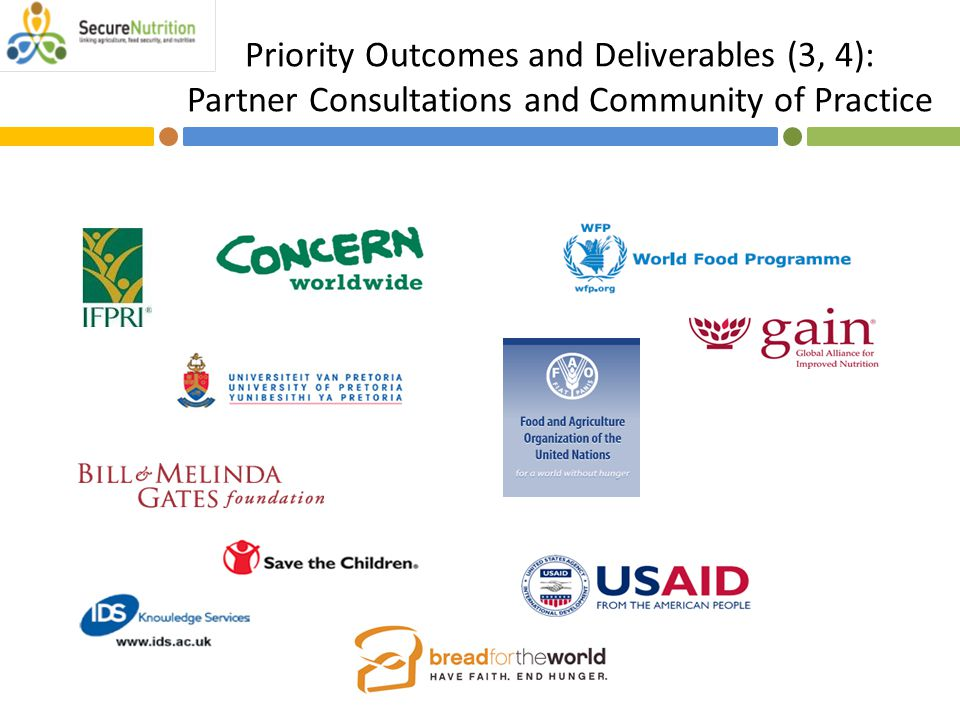 Priority Outcomes and Deliverables (3, 4): Partner Consultations and Community of Practice