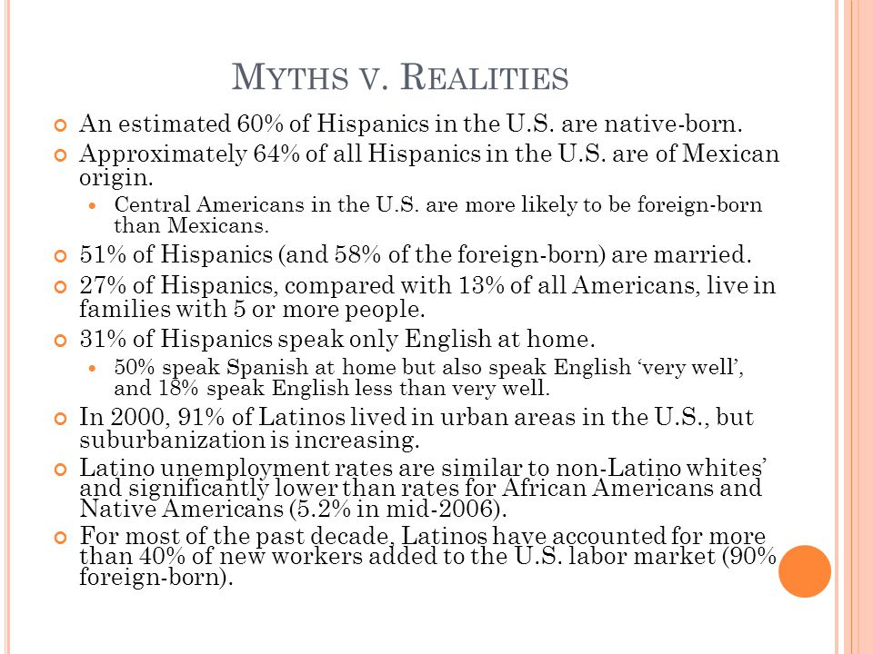 M YTHS V. R EALITIES An estimated 60% of Hispanics in the U.S.