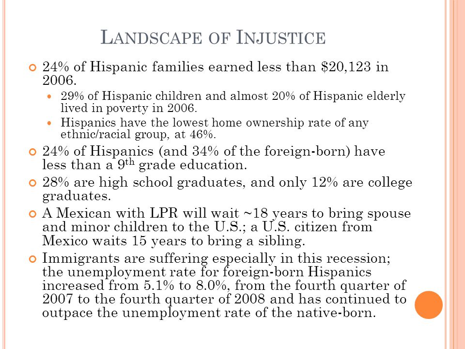 L ANDSCAPE OF I NJUSTICE 24% of Hispanic families earned less than $20,123 in 2006.