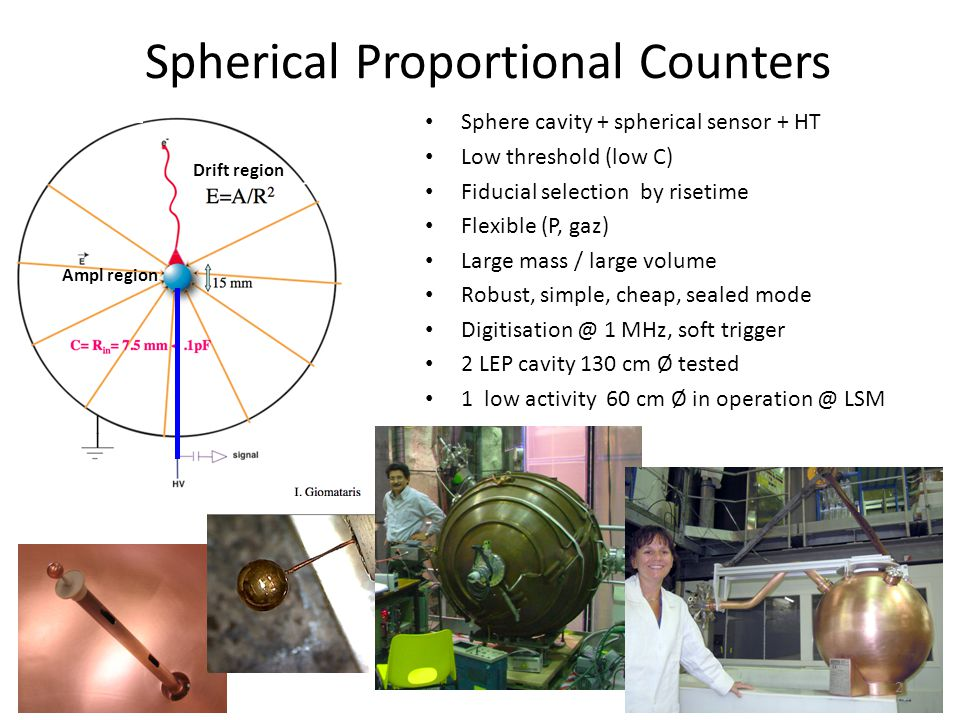 Drift region Ampl region Spherical Proportional Counters Sphere cavity + spherical sensor + HT Low threshold (low C) Fiducial selection by risetime Fl
