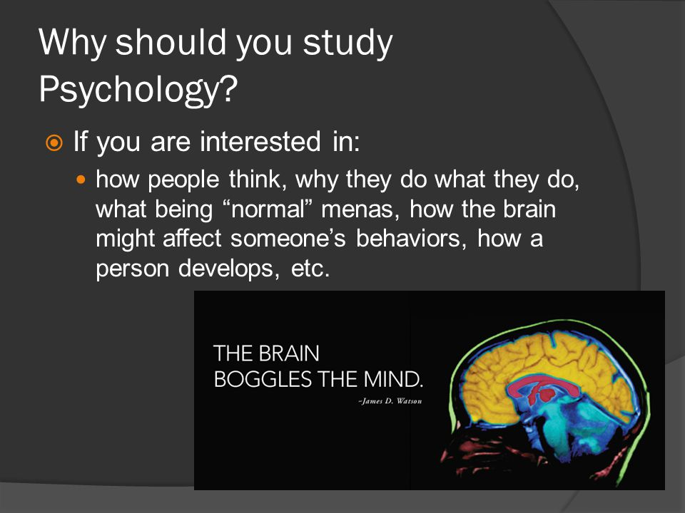 Why should you study Psychology? If you are interested in: how people think, why they do what they do, what being normal menas, how the brain might af
