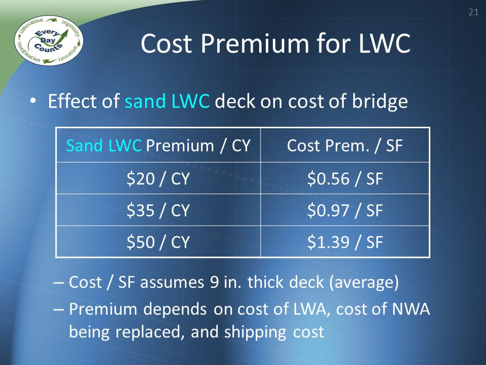 21 Effect of sand LWC deck on cost of bridge – Cost / SF assumes 9 in. thick deck (average) – Premium depends on cost of LWA, cost of NWA being replac