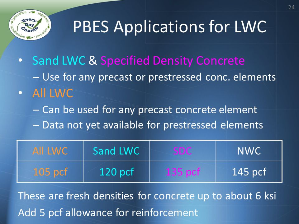24 PBES Applications for LWC All LWCSand LWCSDCNWC 105 pcf120 pcf135 pcf145 pcf These are fresh densities for concrete up to about 6 ksi Add 5 pcf allowance for reinforcement Sand LWC & Specified Density Concrete – Use for any precast or prestressed conc.