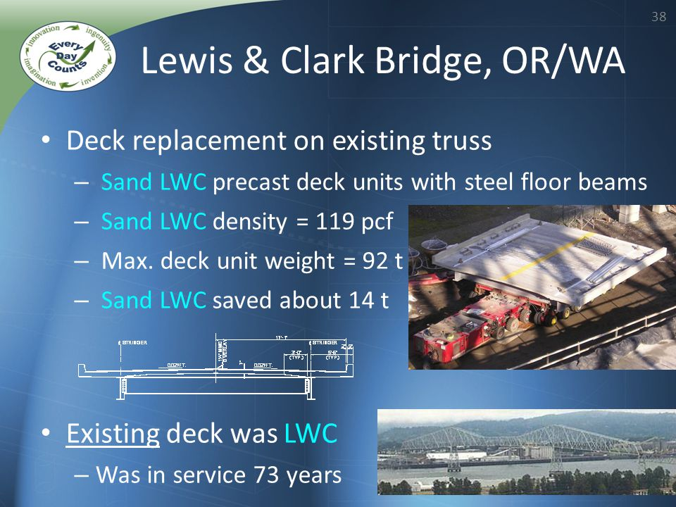 38 Deck replacement on existing truss – Sand LWC precast deck units with steel floor beams – Sand LWC density = 119 pcf – Max. deck unit weight = 92 t