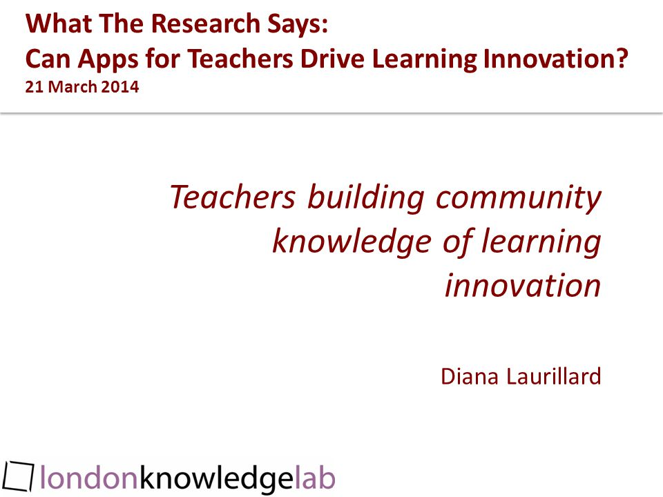 What The Research Says: Can Apps for Teachers Drive Learning Innovation.