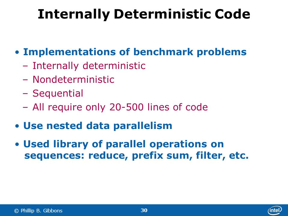 30 © Phillip B. Gibbons Internally Deterministic Code Implementations of benchmark problems –Internally deterministic –Nondeterministic –Sequential –A