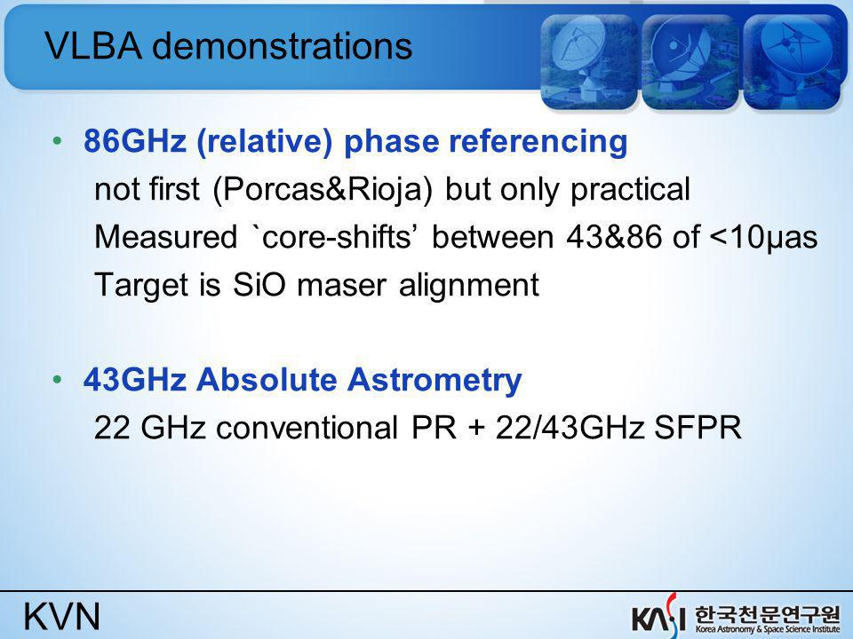 KVN VLBA demonstrations 86GHz (relative) phase referencing not first (Porcas&Rioja) but only practical Measured `core-shifts between 43&86 of <10μas T