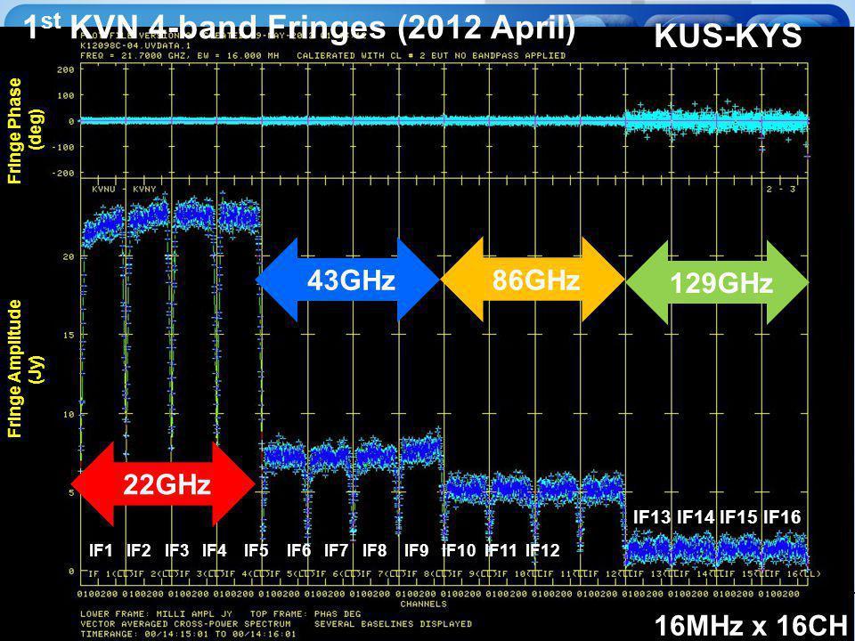 KVN 43GHz 129GHz 86GHz 22GHz 16MHz x 16CH IF13 IF14 IF15 IF16 KUS-KYS Fringe Phase (deg) Fringe Amplitude (Jy) IF1 IF2 IF3 IF4 IF5 IF6 IF7 IF8 IF9 IF10 IF11 IF12 1 st KVN 4-band Fringes (2012 April)