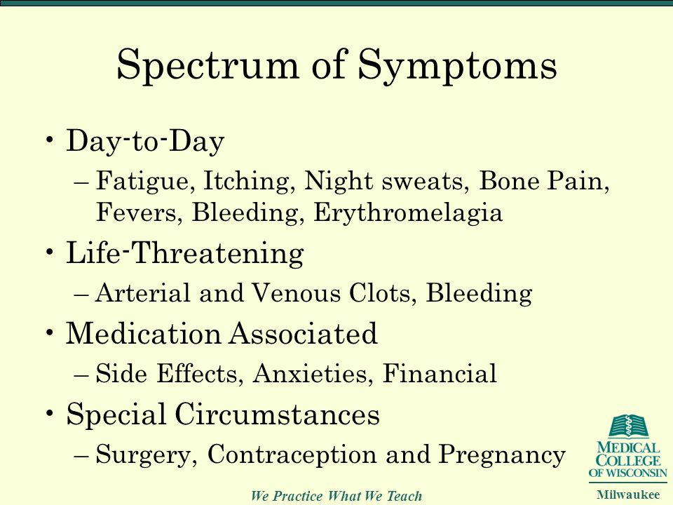 We Practice What We Teach Milwaukee Spectrum of Symptoms Day-to-Day –Fatigue, Itching, Night sweats, Bone Pain, Fevers, Bleeding, Erythromelagia Life-