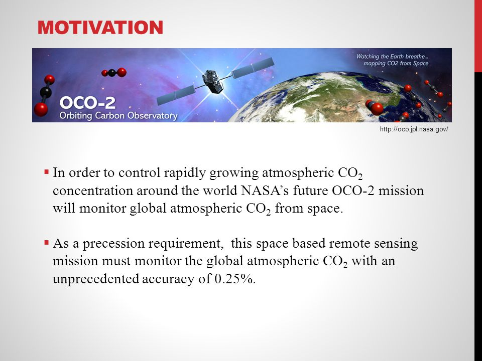 MOTIVATION In order to control rapidly growing atmospheric CO 2 concentration around the world NASAs future OCO-2 mission will monitor global atmosphe