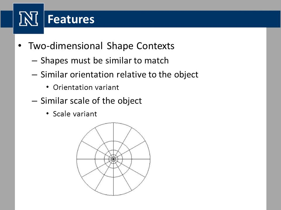 Features Two-dimensional Shape Contexts – Shapes must be similar to match – Similar orientation relative to the object Orientation variant – Similar scale of the object Scale variant