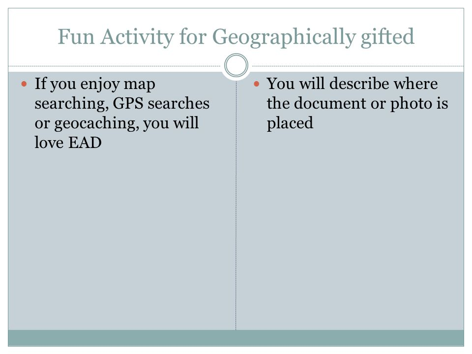 Fun Activity for Geographically gifted If you enjoy map searching, GPS searches or geocaching, you will love EAD You will describe where the document or photo is placed