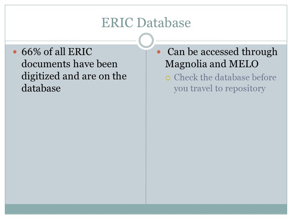 ERIC Database 66% of all ERIC documents have been digitized and are on the database Can be accessed through Magnolia and MELO Check the database before you travel to repository
