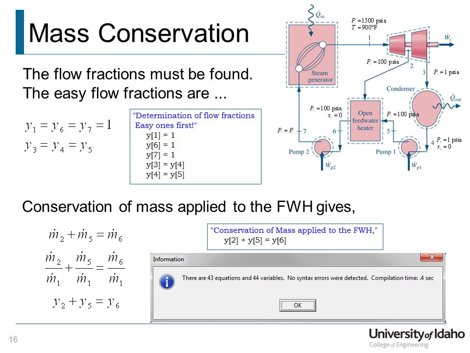 Mass Conservation 16 The flow fractions must be found. The easy flow fractions are... Conservation of mass applied to the FWH gives,