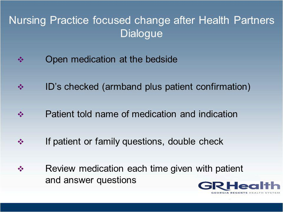 Nursing Practice focused change after Health Partners Dialogue Open medication at the bedside IDs checked (armband plus patient confirmation) Patient told name of medication and indication If patient or family questions, double check Review medication each time given with patient and answer questions