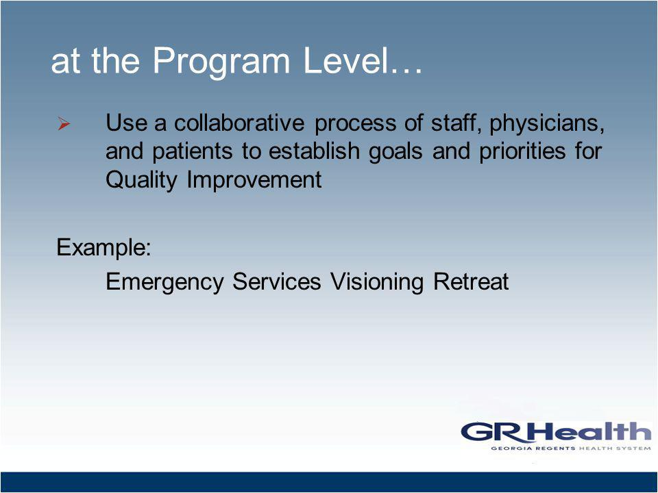 at the Program Level… Use a collaborative process of staff, physicians, and patients to establish goals and priorities for Quality Improvement Example: Emergency Services Visioning Retreat