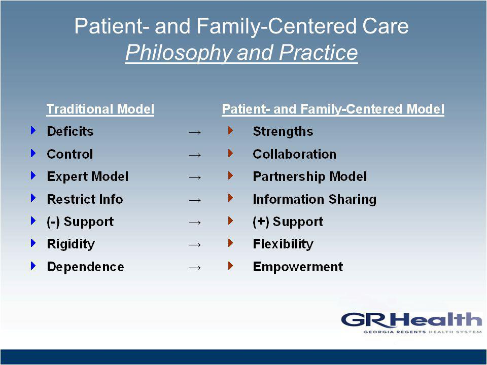 Patient- and Family-Centered Care Philosophy and Practice