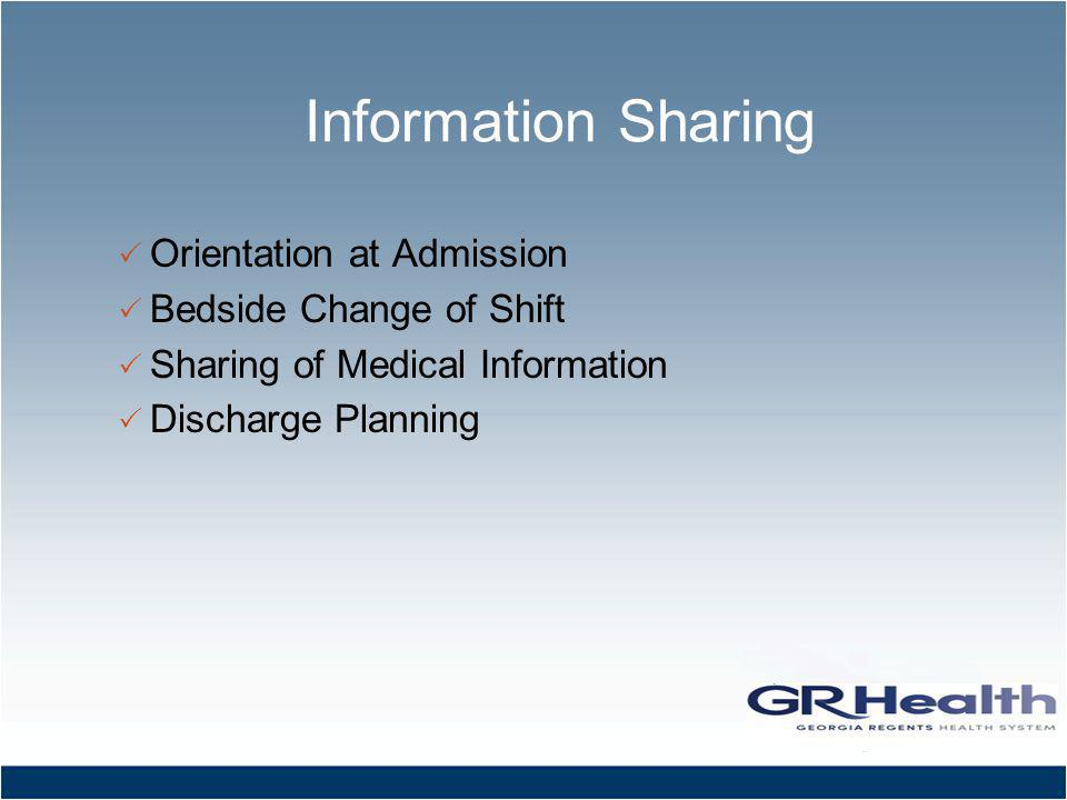 Information Sharing Orientation at Admission Bedside Change of Shift Sharing of Medical Information Discharge Planning