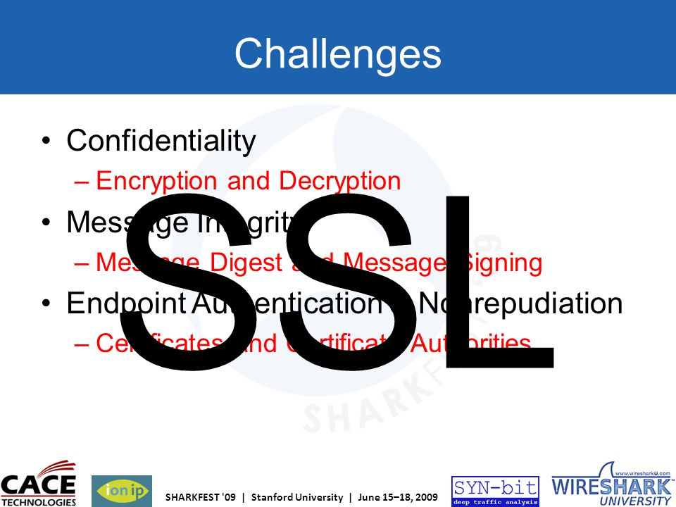 SHARKFEST '09 | Stanford University | June 15–18, 2009 Challenges Confidentiality –Encryption and Decryption Message Integrity –Message Digest and Mes