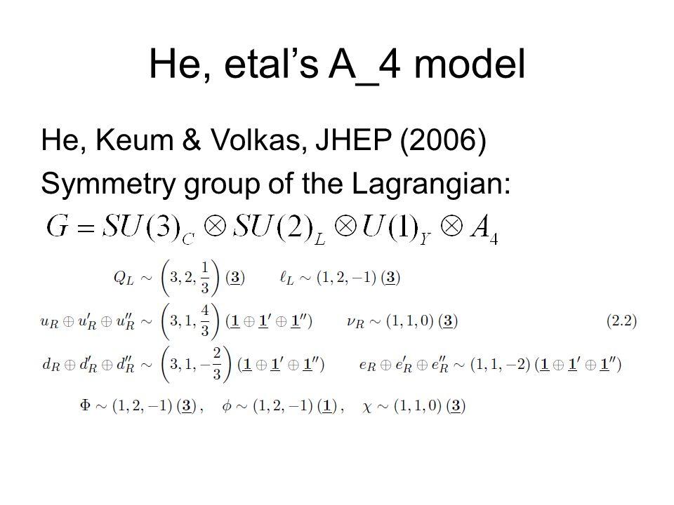 He, etals A_4 model He, Keum & Volkas, JHEP (2006) Symmetry group of the Lagrangian:
