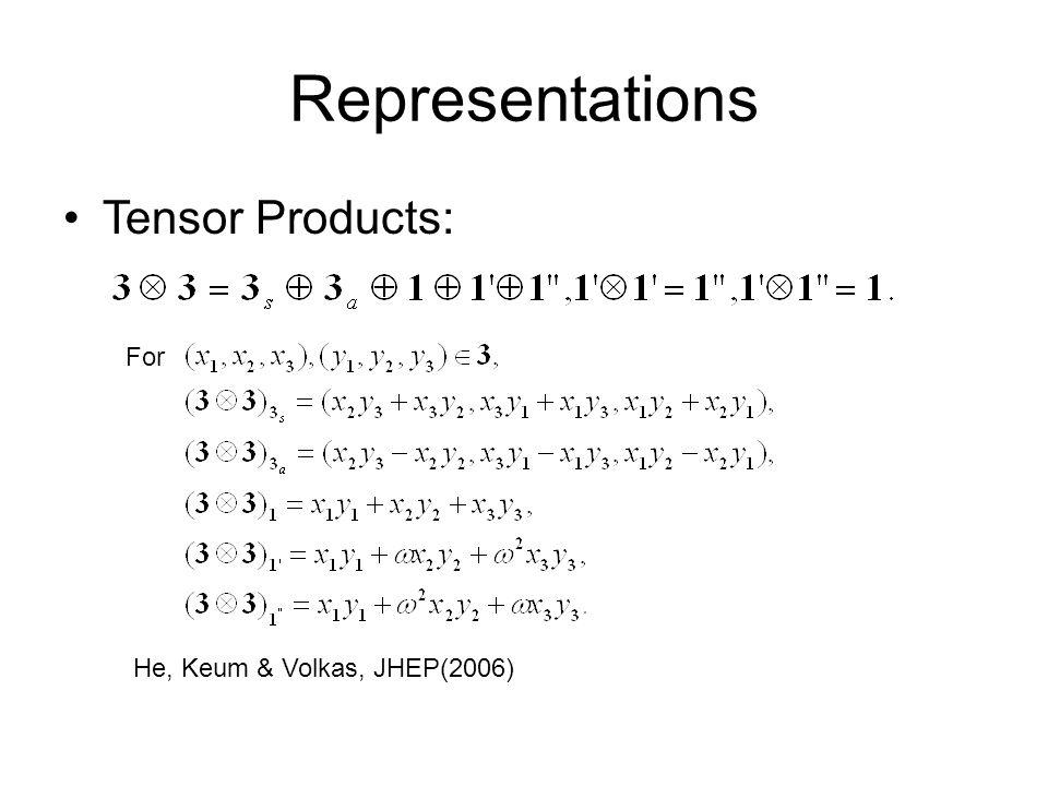 Representations Tensor Products: For He, Keum & Volkas, JHEP(2006)