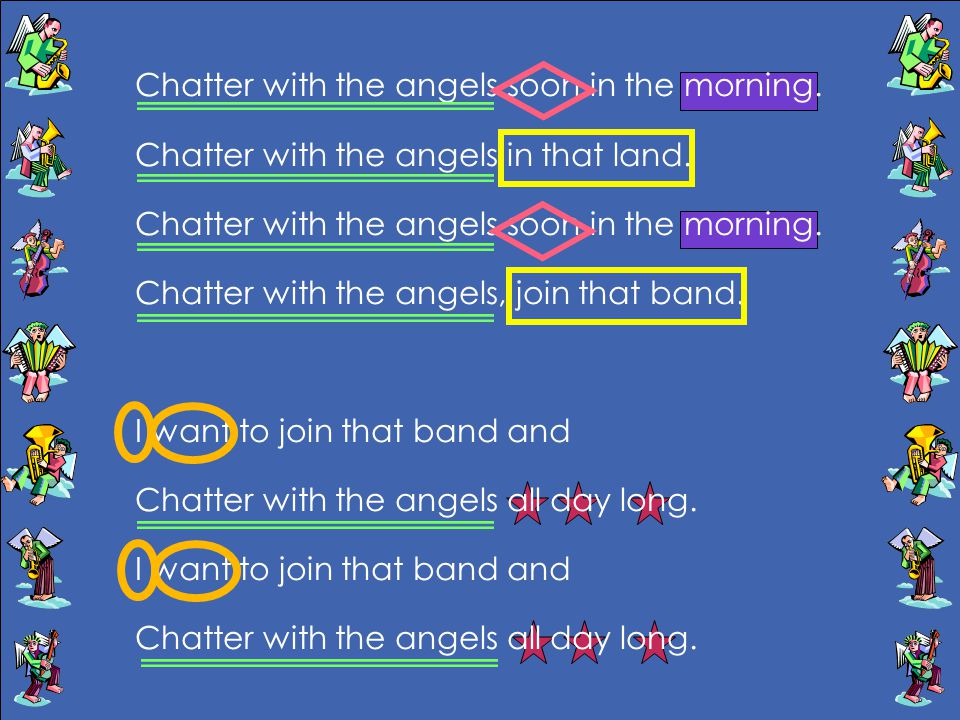 Chatter with the angels soon in the morning.Chatter with the angels in that land.