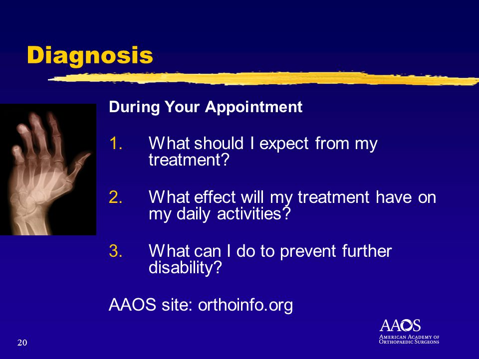 20 Diagnosis During Your Appointment 1.What should I expect from my treatment? 2.What effect will my treatment have on my daily activities? 3.What can