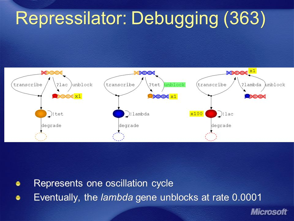 Repressilator: Debugging (363) Represents one oscillation cycle Eventually, the lambda gene unblocks at rate 0.0001 x100