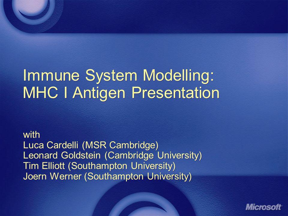 Immune System Modelling: MHC I Antigen Presentation with Luca Cardelli (MSR Cambridge) Leonard Goldstein (Cambridge University) Tim Elliott (Southampt