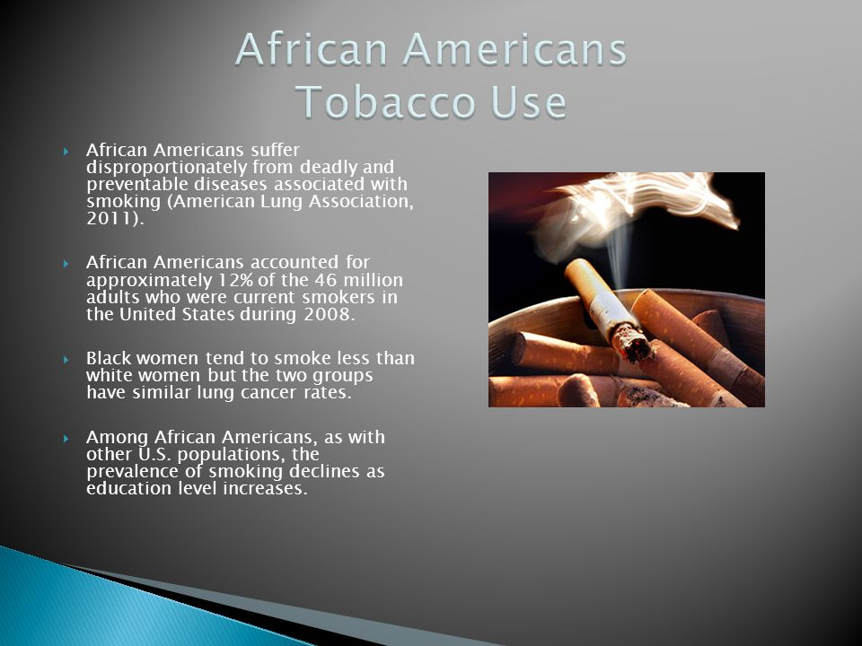 African Americans suffer disproportionately from deadly and preventable diseases associated with smoking (American Lung Association, 2011). African Am