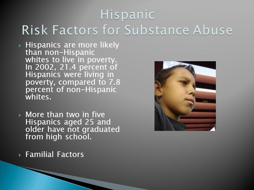 Hispanics are more likely than non-Hispanic whites to live in poverty. In 2002, 21.4 percent of Hispanics were living in poverty, compared to 7.8 perc