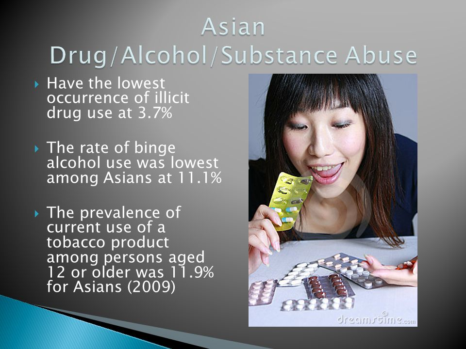 Have the lowest occurrence of illicit drug use at 3.7% The rate of binge alcohol use was lowest among Asians at 11.1% The prevalence of current use of