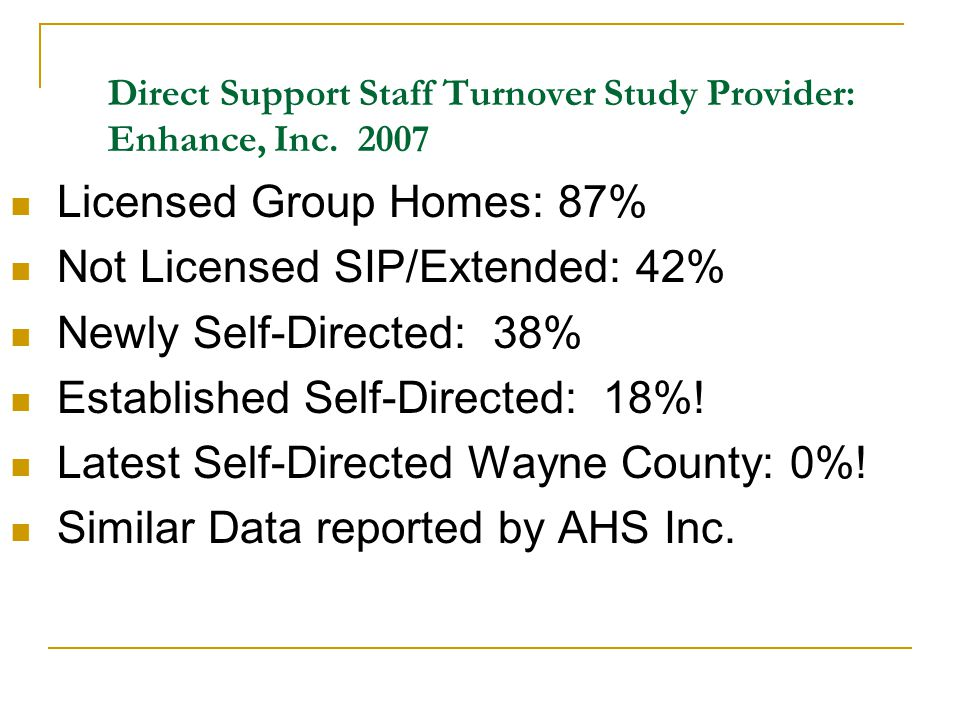 Direct Support Staff Turnover Study Provider: Enhance, Inc. 2007 Licensed Group Homes: 87% Not Licensed SIP/Extended: 42% Newly Self-Directed: 38% Est