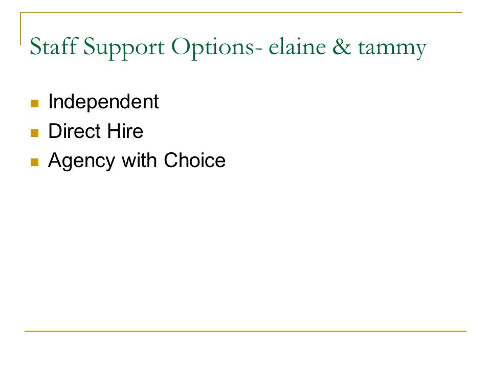 Role of Agency with Choice - tammy Employer of Record Financial Management ( optional in Aging Required in CMH) Human Resources Criminal Background checks Supportive services