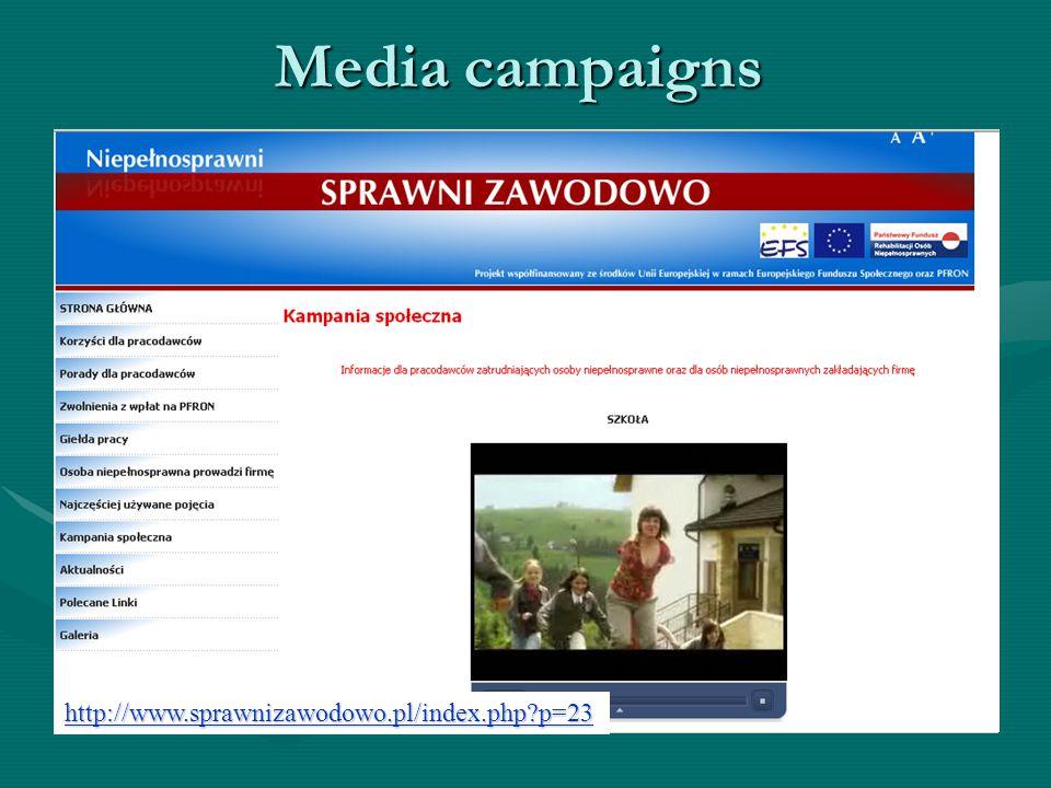 Media campaigns http://www.sprawnizawodowo.pl/index.php p=23